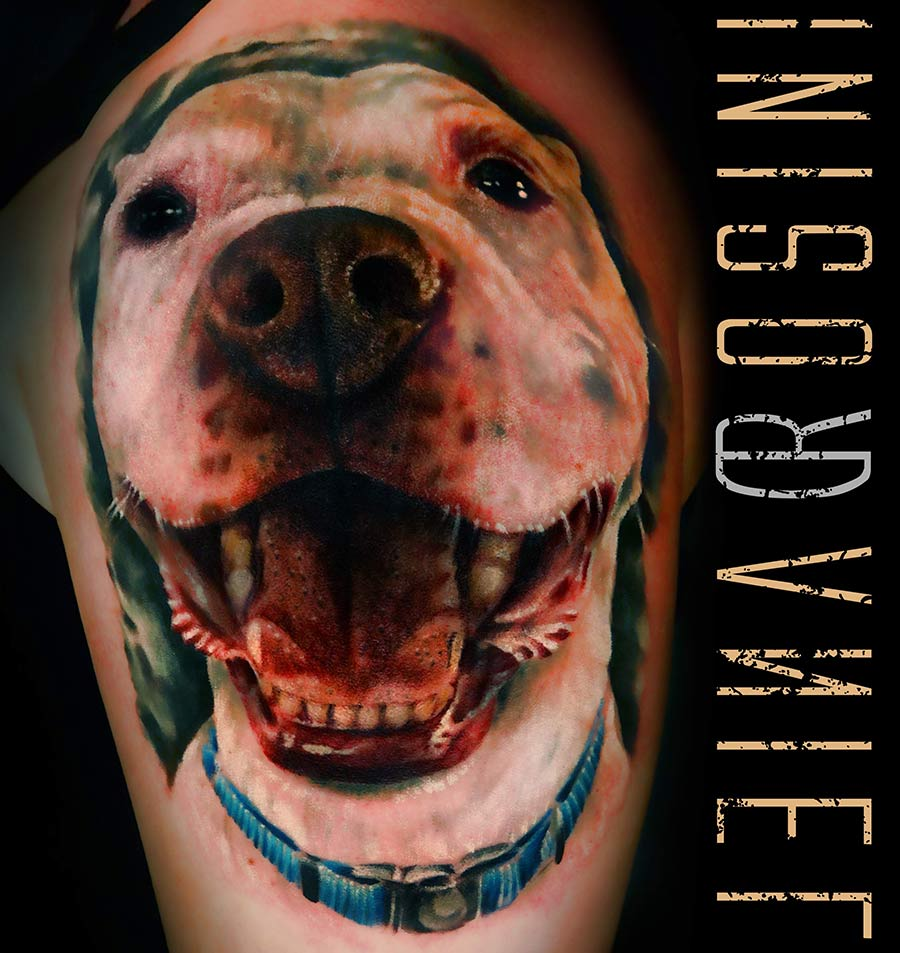 Daniel Rosini - Tattoos - Pure Ink Tattoo New Jersey - Pitbull Dog Portrait